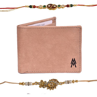 Mohit Fascinating Rakhi  Gift Set Combo of  2 Rakhis and Khaki Wallet