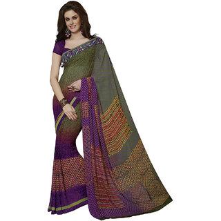 Subhash Sarees Multicolor Colored Georgette Printed Saree/Sari