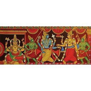 Kerala Mural Painting Siva and Vishnu 101cm X 43cm (Original) Acrylic on Canvas