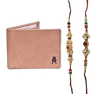 Mohit Special Rakhi  Gift Set Combo of  2 Rakhis and Brown Leather Wallet
