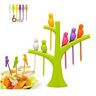 BRIGHT HUMMING BIRD 6 PCS COLOR SET DESIGN FANCY FRUIT SALAD FORK