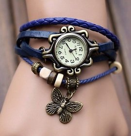 LEBENZEIT Fashion leather Bracelet women watch-Blue