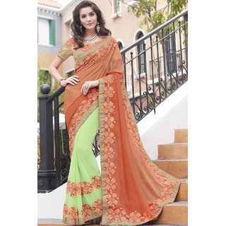 Shaily Orange and Neon Green Georgette Embroidered Saree