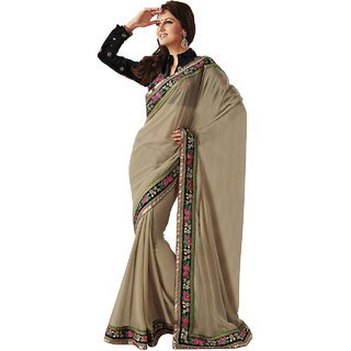 Subhash Sarees Brown Colored Georgette Plain Saree/Sari