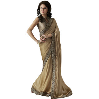 Subhash Sarees Golden Colored Chiffon Plain Saree/Sari