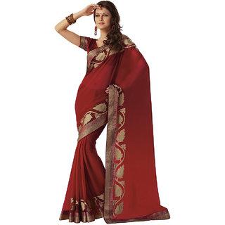 Subhash Sarees Salmon Colored Georgette Printed Saree/Sari