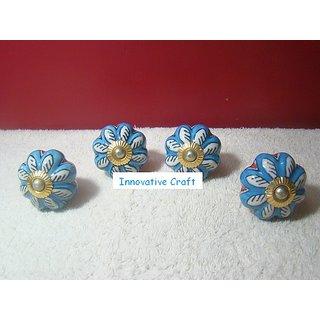 Set of 4 Door knobs Cabinet Drawer knob Blue Pottery Ceramic Kitchen Dressing Table Handle