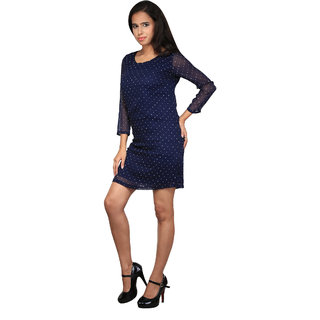 Navy Blue Polka dots Dress