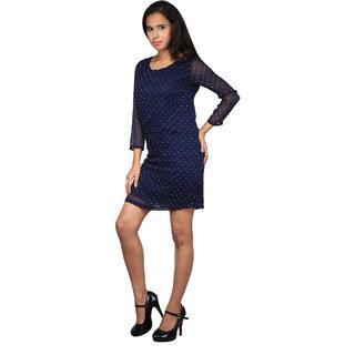 Navy Blue Polka dots Dress