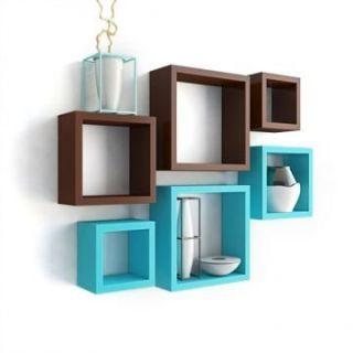 Homey Essense Nesting Square Shape Set of 6 Wall Shelf (Sky Blue  Brown)
