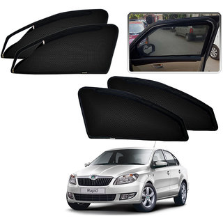 Auto Pearl - Premium Quality Zipper Magnetic Sun Shades Car Curtain For - Skoda Rapid - Set of 4 Pcs