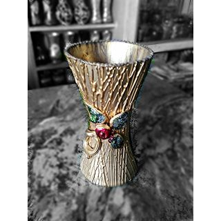 Glass Color Flower Vase Hand work Golden