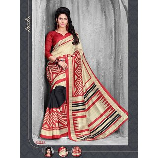 Silk Elements Multicolor Silk Printed Saree With Blouse