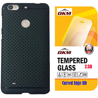 Soft Black Dotted Back Cover for Oppo Neo 5 with 25D HD Tempered Glass