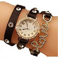 Round Dial Brown Leather Strap Analog Watch For Women