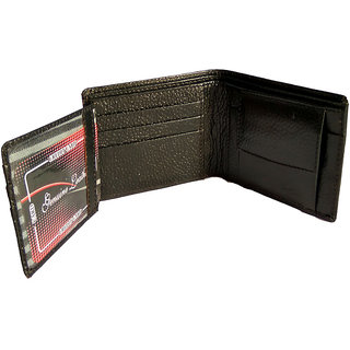 GoShamoy Black Leather Wallet With Extra Extension Card Holder Option