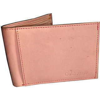 GoShamoy Light Pink Unisex Leather Wallet With Card Holder Option