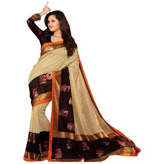 Womens Art Silk Saree with Blouse Piece (Multi-Coloured)