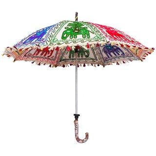 Yogya Mart Rajasthani Handmade Peacock Print Embroidery Work Umbrella