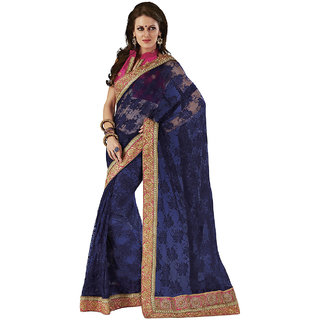 Subhash Sarees Blue Colored Net Embroidered Saree/Sari