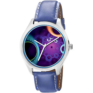Jack Klein 1210 Graphic Analog Blue Leather Watch For Men,Women