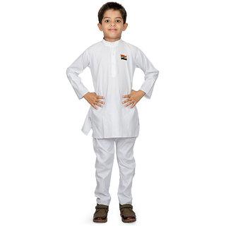 Ethiic White Cotton Blend BoyS Kurta Payjama
