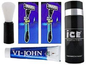 Mens Grooming Combo Shaving Brush + 2 Ready Shaver + VI John Shaving Cream + ICE Deo