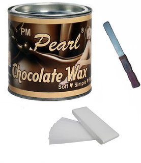 Choclate Hot Wax 600 Gm For Hair Removal With 90 Wax Strips Pack Free Knife