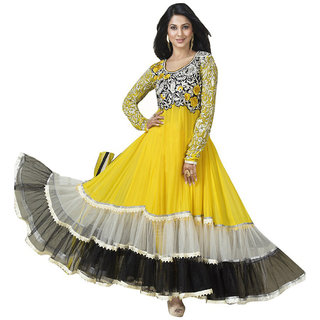 Surat Tex Yellow Color Party Wear Embroidered Georgette  Football Net Semi-Stitched Anarkali Suit-H954DL33