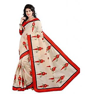 360bazaar Red Color Artsilk  Saree