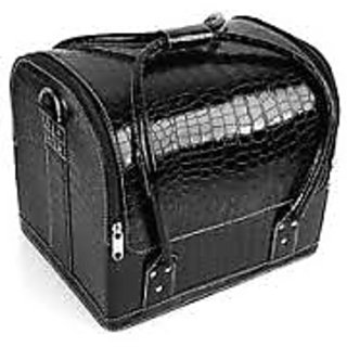 Black Professional P U Leather Fashion Makeup Cosmetic Vanity Bag/ Box/ Case ..