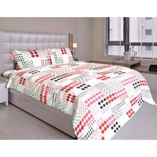 Just Linen 160 TC 100 Cotton Red Polkadot Printed King Size 4 Pcs Bed in a Bag Comforter Set