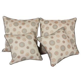 Just Linen Set of 8 Pcs of Geometrical Rings Jacquard Beige Cushion Covers With Cushion Fillers