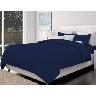 Just Linen 200 TC Cotton Sateen Indigo Colored Striped King Size Ac Comforter