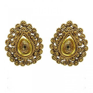 Jewelscart Traditional Antique Gold Plated Kundan Earrings