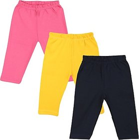 Color Fly Baby Girls Pink, Dark Blue, Yellow Leggings (Pack of 3)