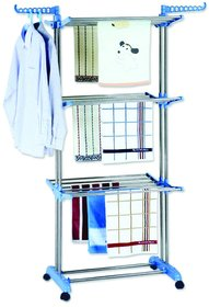 Heavy Duty Double Pole Stainless Steel Double Pole Cloth Drying Rack With Wheels - 26 Rods