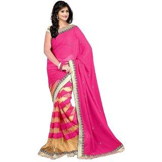 360bazaar heavy bluse red chiffon saree