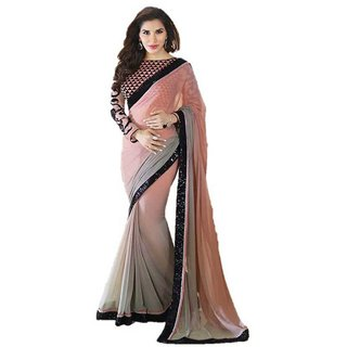 360bazaar sofie peach georgette saree