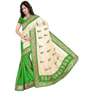 36bazaar hathi godha green chanderi saree