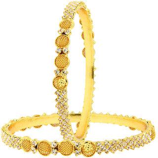 The Jewelbox Jaali Ball American Diamond CZ 22K Gold Plated Brass Bangle Pair for Women