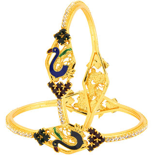 The Jewelbox Peacock Meenakari American Diamond CZ 22K Gold Plated Brass Bangle Pair for Women