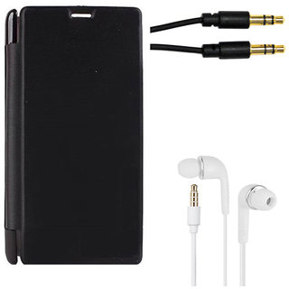 MuditMobi Premium Flip Cover With Earphone and Card Reader For- HTC Desire 728 - Black