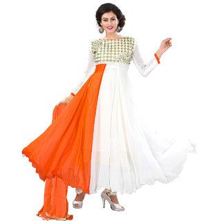 Surat Tex Orange  White Color Party Wear Embroidered Georgette Semi-Stitched Anarkali Suit-I3DL308