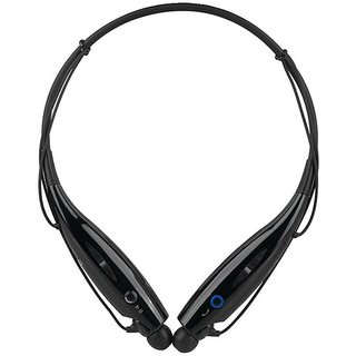 MuditMobi Wireless Bluetooth Mobile Phone Headphone Earpod Sport Earphone With Call Functions For- Micromax X853 - Black Mudit291