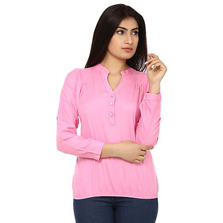 4ad78829f223db Buy Ladies jeans top Casual Full Sleeve Solid Womens Pink Top Online ...