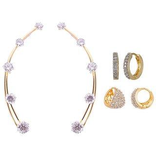 Jewels Guru Exclusive American Diamond Earring Combo - combo of 3