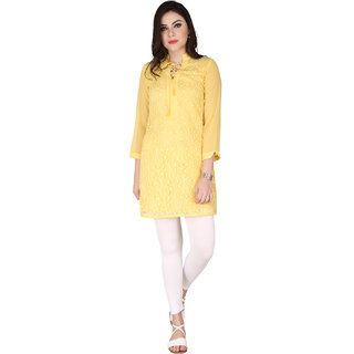 Soie Yellow Georgette Shirt Collar Elbow Sleeve Lace Tunic