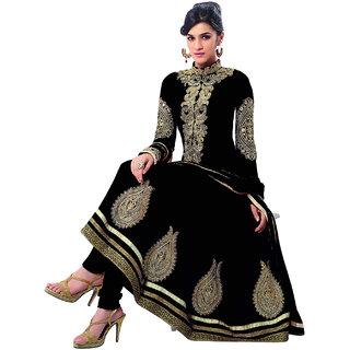 Surat Tex Black  Gold Color Party Wear Embroidered Georgette Semi-Stitched Anarkali Suit-I19DL74