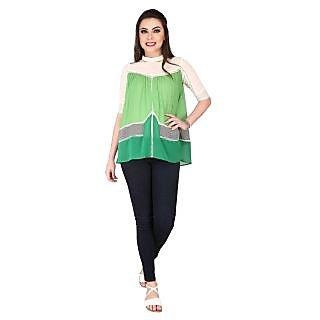 Soie Light Green Georgette High Neck Half Sleeve Printed Top